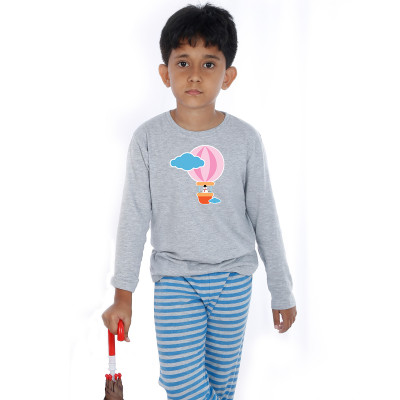 Grey Full Sleeve Boys Pyjama - Hot Air Balloon